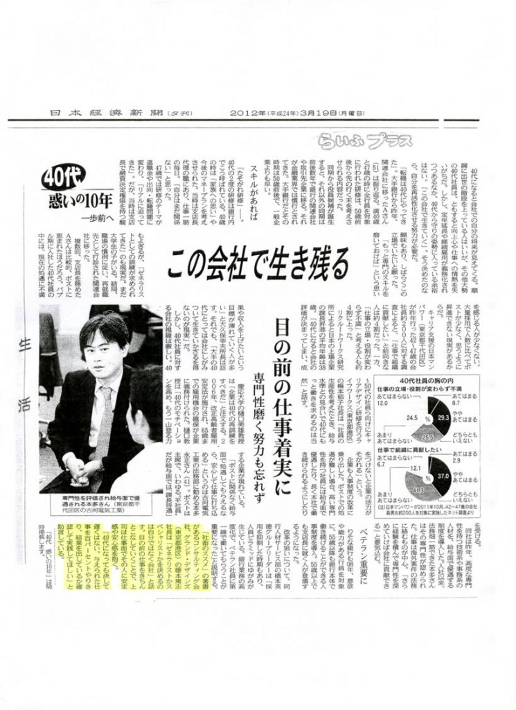 日本経済新聞夕刊20120319
